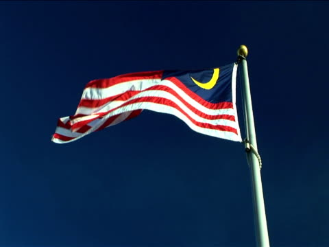 MS, LA, Malaysian flag flapping against clear sky