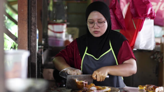 malaysian food: 'itik salai' (smoked duck) - sequential series stock videos & royalty-free footage