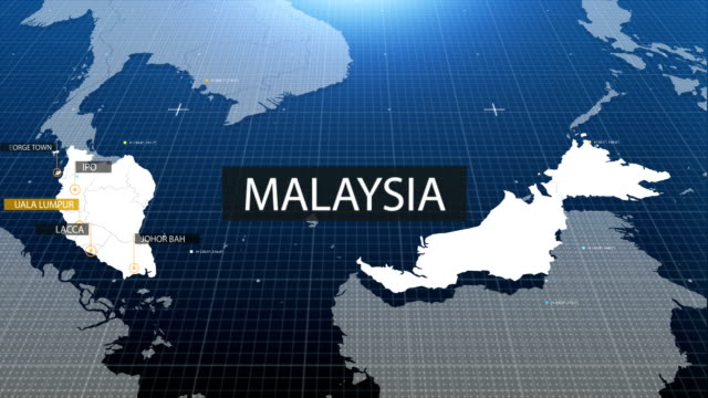 malaysian map with label then with out label - malaysia video stock e b–roll