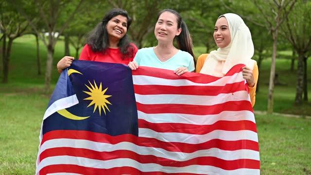 vídeos y material grabado en eventos de stock de personas de grupos multiétnicos malasios con bandera de malasia en un parque público - malaysian culture