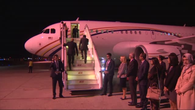 malaysian prime minister najib razak arrives at the antalya international airport for the upcoming g20 turkey leaders summit on november 13 2015 in... - g20 leaders' summit stock videos & royalty-free footage
