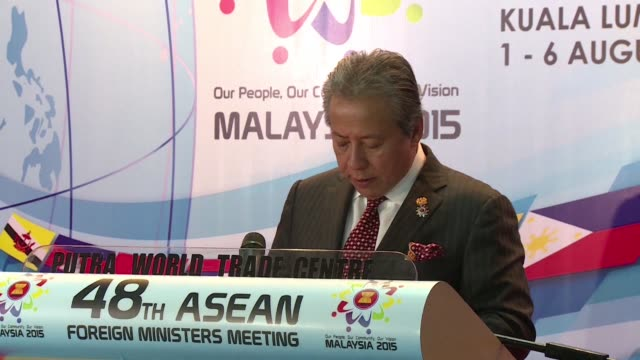 malaysia's foreign minister said tuesday the south china sea disputes were discussed extensively during the annual security forum hosted by the... - association of southeast asian nations stock videos & royalty-free footage