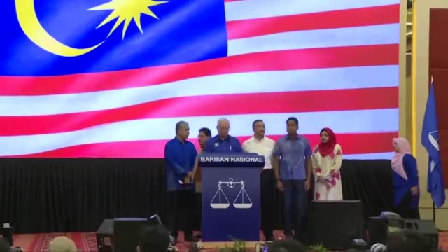 malaysia's prime minister najib razak says he accepts the verdict of the people after suffering a shock electoral defeat to veteran ex-leader... - prime minister video stock e b–roll