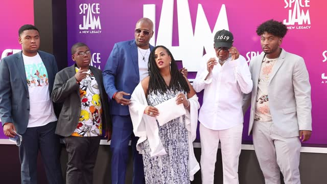 """malcolm d. lee attends the premiere of warner bros """"space jam: a new legacy"""" at regal live on july 12, 2021 in los angeles, california. - space jam stock videos & royalty-free footage"""