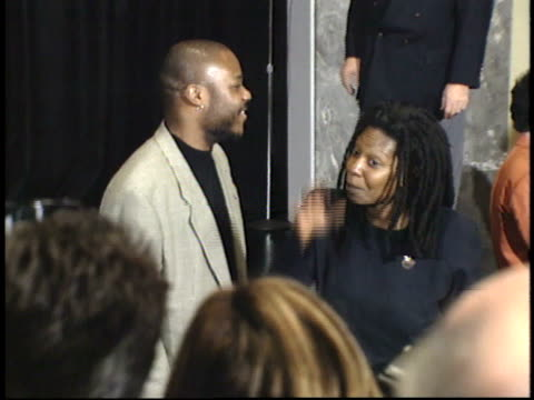 malcolm jamal warner and whoopi goldberg talk to reporters and pose for paparazzi on red carpet - friars roast 1993 stock videos and b-roll footage