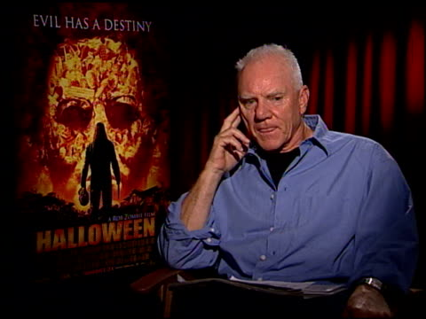 malcolm mcdowell discusses not being a fan of horror films the difference between this film and the original and being a fan of donald pleasance at... - august stock videos & royalty-free footage