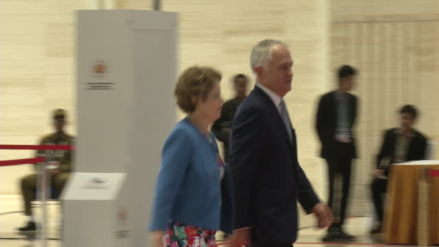 malcolm turnbull prime minister of australia and spouce arrive at the association of southeast asian nations summit the laotian capital vientiane. - association of southeast asian nations stock videos & royalty-free footage