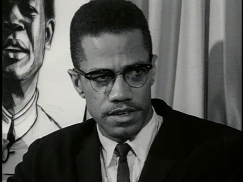 stockvideo's en b-roll-footage met malcolm x advocates a black guerrilla army in the southern us saying it could conduct a campaign of terror against the ku klux klan - united states and (politics or government)