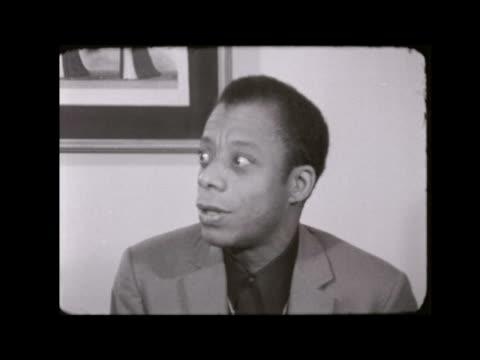malcolm x assassinated:; england: london: hilton hotel: james baldwin interview sof neg 16mm itn 1.12 / 45ft tx 22.2.65 / 8.55pm - black history in the us stock videos & royalty-free footage