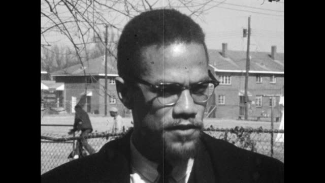 vídeos de stock, filmes e b-roll de malcolm x explains how he feels that standing up for yourself when you are being attacked is the natural, intelligent approach to confronting racial... - 1965