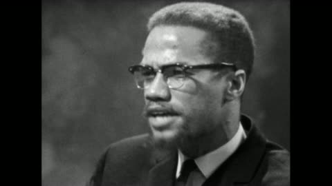 """malcolm x feels that there is no gradual """"coming together"""" of the white and black communities in the usa and that the gap is only getting wider; 1964. - editorial stock videos & royalty-free footage"""