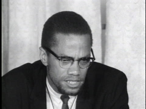 vídeos y material grabado en eventos de stock de malcolm x says he will remain malcolm x as long as there is a need to struggle against the injustices against black people in the us. - human rights or social issues or immigration or employment and labor or protest or riot or lgbtqi rights or women's rights