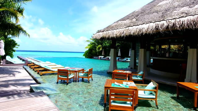 maldives, blue sky, turquoise sea, white sand and green palm trees. - hotel stock videos & royalty-free footage