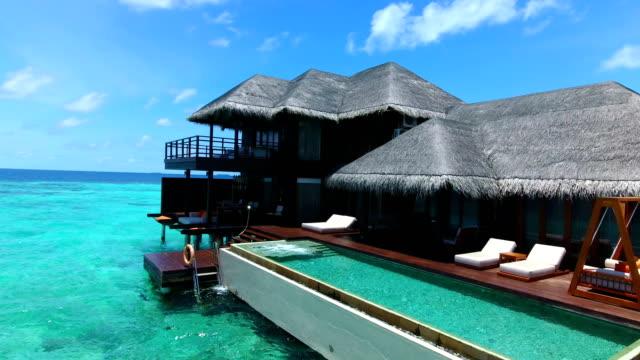 Malediven, blauer Himmel, türkisfarbenes Meer, weißer Sand und grüne Palmen.