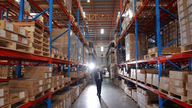 vídeos y material grabado en eventos de stock de a male african manager supervising and walking through the warehouse for inspection. - ubicación de película fuera de los estados unidos