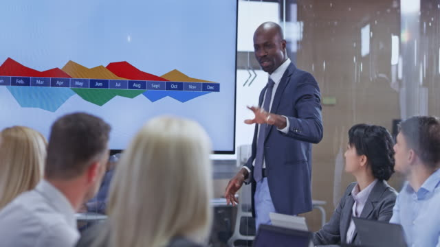 male african-american business man holding a presentation in the conference room - excitement stock videos & royalty-free footage