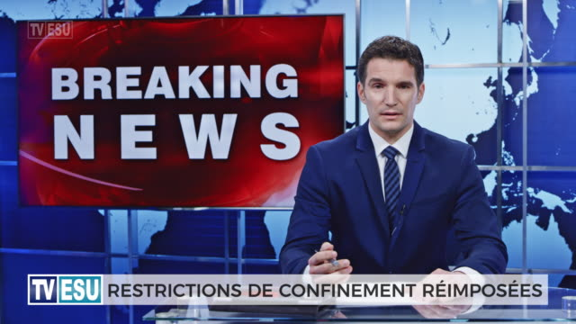 ld male anchor presenting breaking news about lockdown restricton - french language stock videos & royalty-free footage