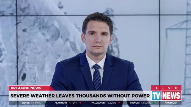 ld male anchor presenting breaking news about severe weather causing power outage - breaking news stock videos & royalty-free footage