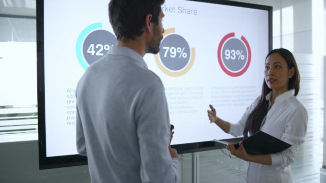 male and female colleague discussing the financial diagrams on the large screen in meeting room and preparing for the presentation - businesswear stock videos & royalty-free footage