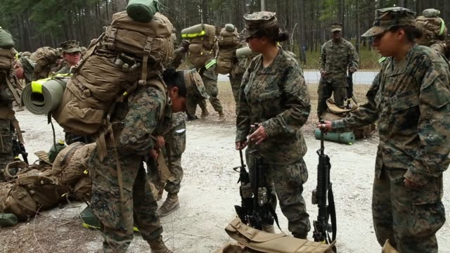 male and female marines resume a 10 kilometer hike carrying 55 pound packs after stopping for a water break at marine combat training on february 22... - 歩兵点の映像素材/bロール