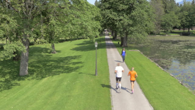 aerial male and female runner running through park in sunshine - public park stock videos & royalty-free footage