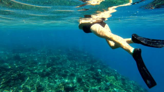 Male and female swimming using snorkeling mask Fiji