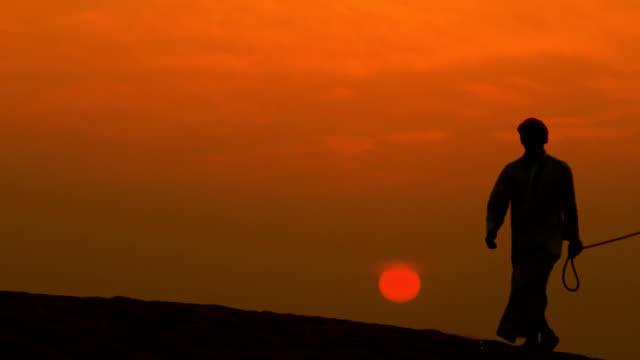 male arab leading camels through sand dunes silhouette - ベドウィン族点の映像素材/bロール