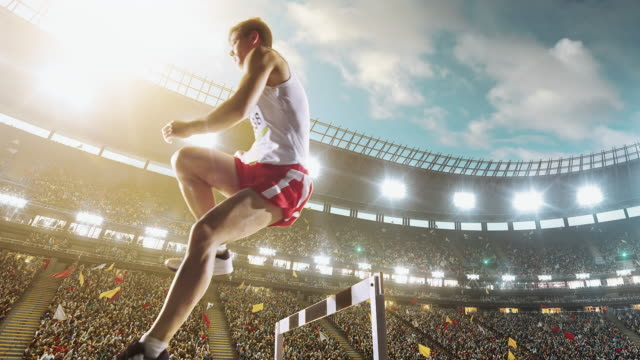 male athlete hurdle - hurdle stock videos & royalty-free footage