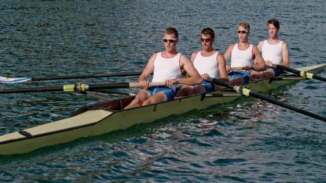 slo mo male athletes rowing across the lake in sunshine - rowing stock videos & royalty-free footage