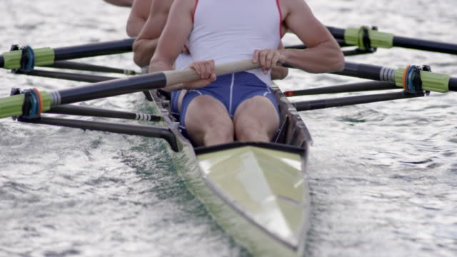 male athletes rowing in a coxless four - coxless rowing stock videos & royalty-free footage