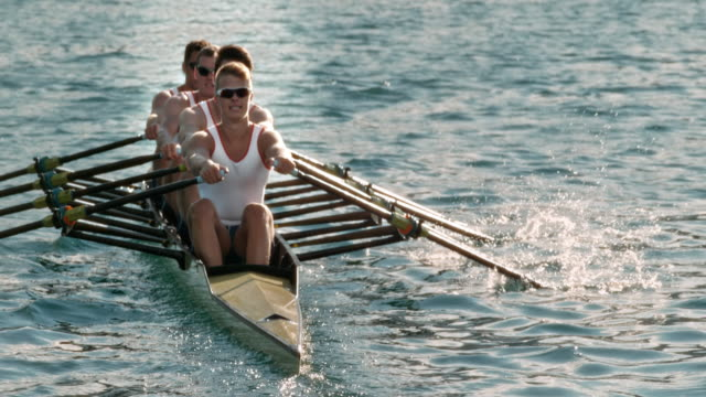 slo mo male athletes sculling across the lake late in the afternoon - order stock videos & royalty-free footage