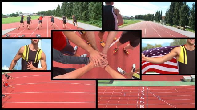 vídeos de stock, filmes e b-roll de montagem de alta definição: masculino de atletismo - montagem imagem manipulada