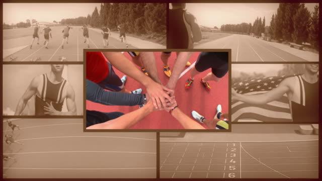 vídeos de stock e filmes b-roll de montagem de hd: atletismo masculino - montagem