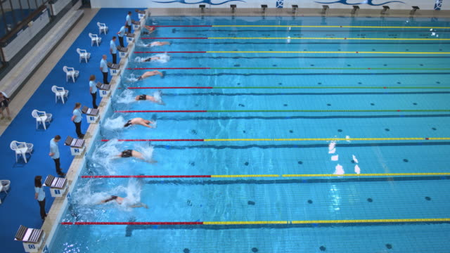 Male backstroke start in swimming competition