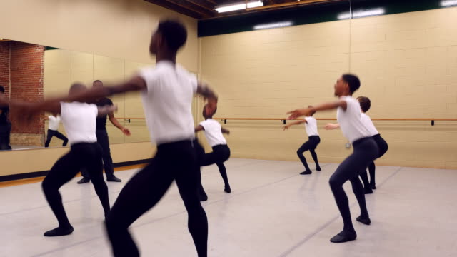 ms male ballet instructor leading class of teen male students in dance studio - ballet dancing stock videos & royalty-free footage