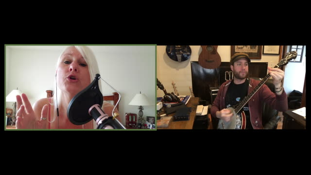 male banjo player and female singer harmonize together via video call. - singer stock videos & royalty-free footage