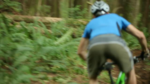 WS PAN Male biker mountain biking through forest / Squamish, British Columbia, Canada