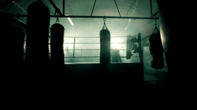 stockvideo's en b-roll-footage met ls male boxer enters the boxing ring. - stootzak fitnessapparatuur