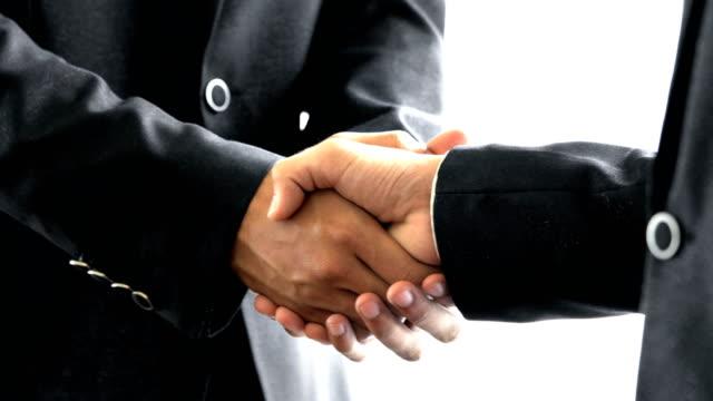 4K CU Male Business Men Shaking Hands