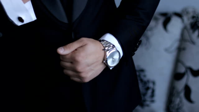 male businessman and his watch - watch timepiece stock videos & royalty-free footage