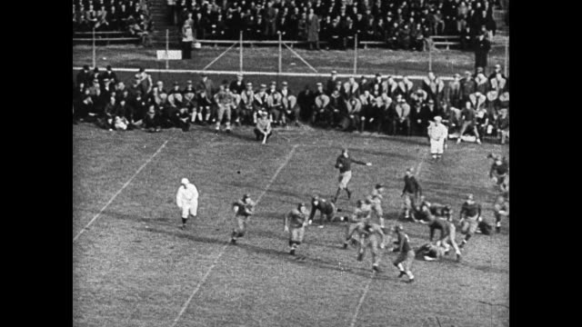 stockvideo's en b-roll-footage met male cheerleaders on field doing backflips ha ws game play hike to running w/ football making touch down band cheering in stands holding up hats male... - 1936