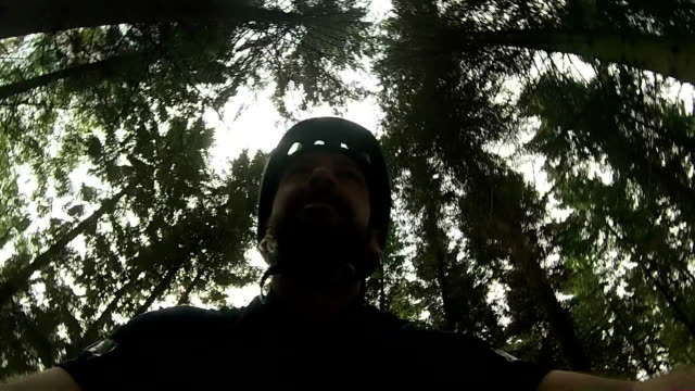 Male cycling in forest