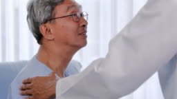 Male doctor comforting patient senior man at consulting room.Caring medical worker in hospital talking to elderly man at hospital.Medical, age, health care, cardiology and people concept.Healthcare: Caretaking