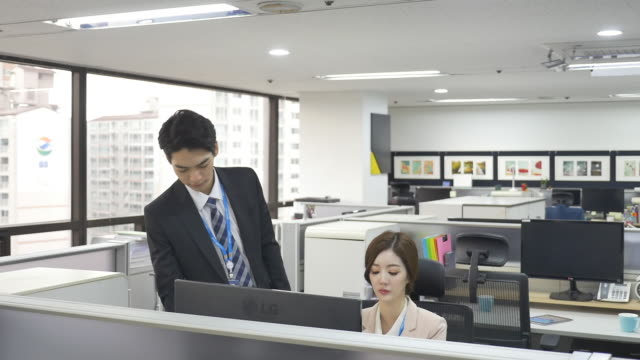 a male employee and a female employee working at an office - シャツとネクタイ点の映像素材/bロール