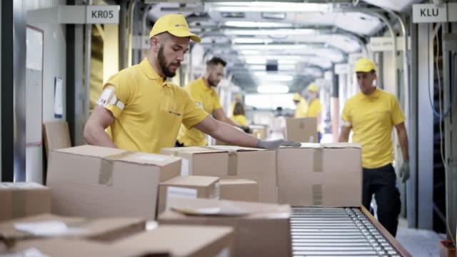 stockvideo's en b-roll-footage met ds mannelijke werknemer en zijn collega's sorteren van pakketten op de transportband - lopende band
