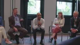 Male entrepreneur explaining strategy to partners