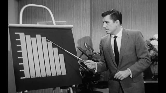 vidéos et rushes de 1959 male executive suggests declining sales due to business owner (susan cabot) no longer being in ads - limite
