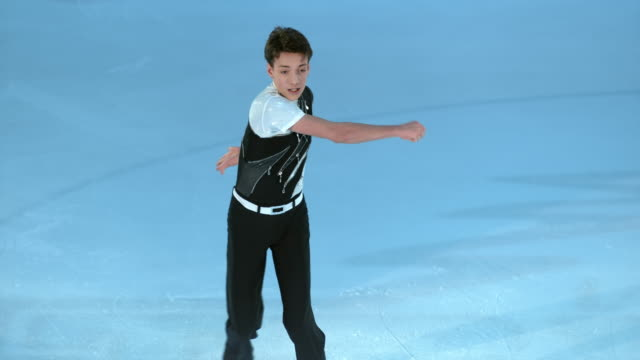 SLO MO Male figure skater ending his performance with a raised hand