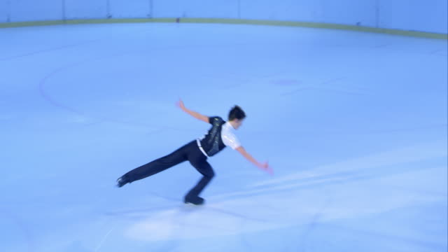 ts male figure skater making a great performance - winter sport stock videos and b-roll footage