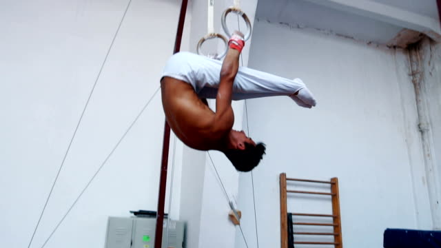 male gymnast doing exercises on gymnastic rings